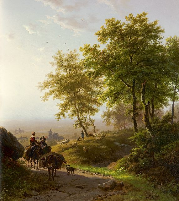 Barend Cornelis Koekkoek | A wooded landscape at dawn, oil on panel, 24.1 x 21.4 cm, signed l.l. and dated 1850