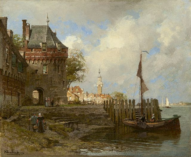 Karel Klinkenberg | A view on Veere with the Campveerse toren, oil on canvas, 39.0 x 47.2 cm, signed l.l.