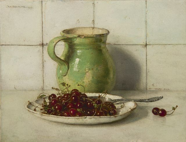 Jan Bogaerts | Still life with cherries and stoneware can, oil on canvas, 35.3 x 46.0 cm, signed u.l. and dated 1937