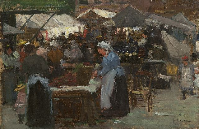 Floris Arntzenius | Market scene, The Hague, oil on canvas laid down on panel, 31.3 x 47.2 cm, signed l.r.