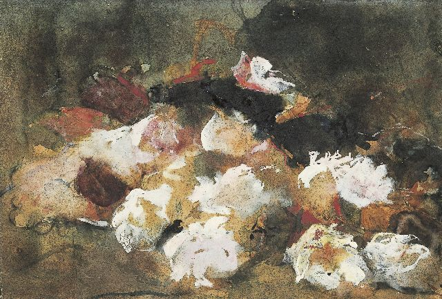 George Hendrik Breitner | Still life of roses, black chalk and watercolour on paper, 26.3 x 37.6 cm