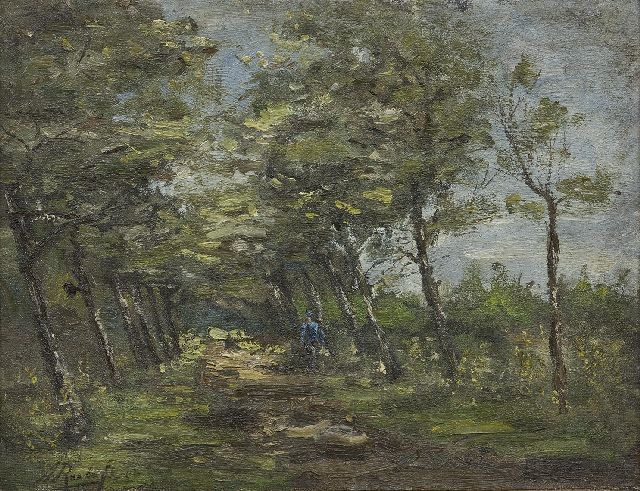 Albert Roelofs | A farmer on a country road, oil on canvas, 31.2 x 42.1 cm, signed l.l. and dated '92