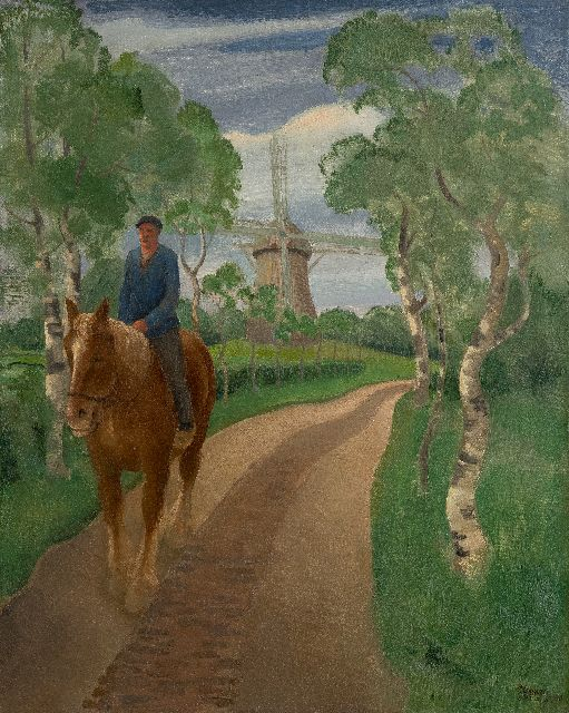 Meurs H.H.  | The mill path, oil on canvas 55.2 x 46.0 cm, signed l.r. and dated 1930