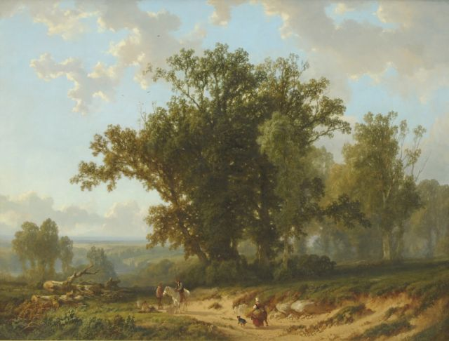 Alfred Edouard Agenor van Bylandt | Peasants near old oak trees, oil on canvas, 131.4 x 172.0 cm, signed l.r.