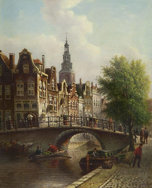 Johannes Franciscus Spohler | A Dutch town view with the Montelbaanstoren, oil on panel, 30.0 x 24.2 cm, signed l.r.
