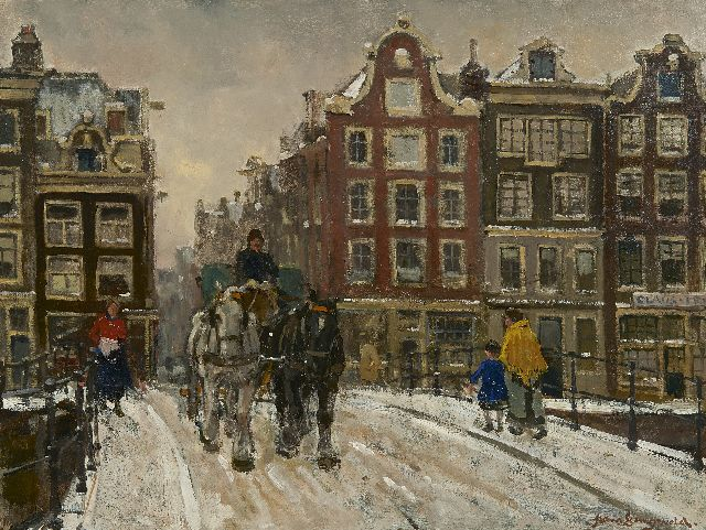 Frans Langeveld | Horse and wagon on a snowy bridge, Amsterdam, oil on canvas, 51.3 x 66.3 cm, signed l.r.