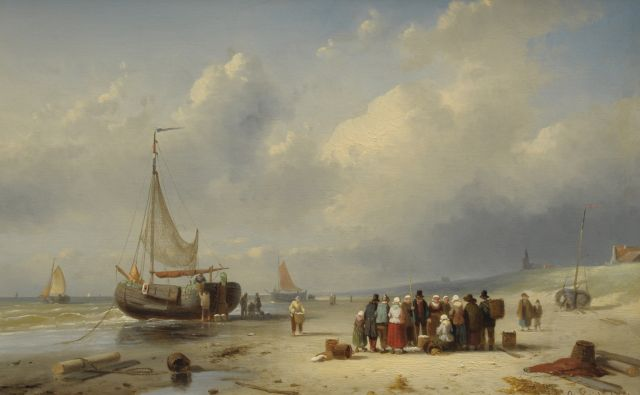 Charles Leickert | The beach of Scheveningen with barges and fishermen, oil on panel, 25.8 x 39.4 cm, signed l.r. and dated '61