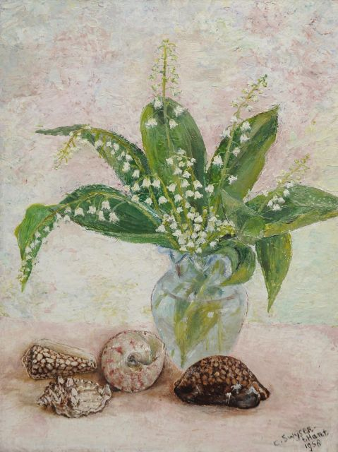Swijser-'t Hart C.C.M.  | Still life with lilies of the valley, oil on board 37.5 cm, signed l.r. and dated 1958