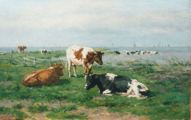 Herman Wolbers | Cows in a meadow, oil on panel, 26.8 x 42.0 cm, signed l.r.