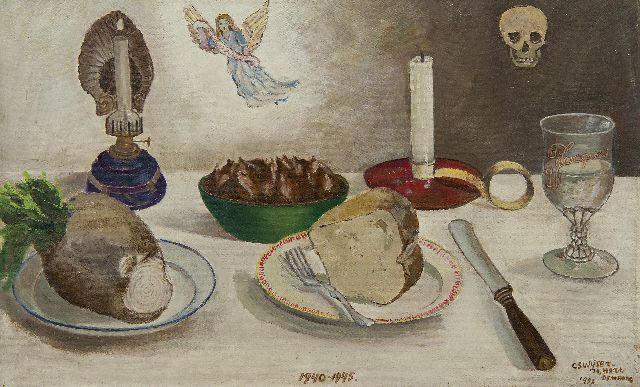 Swijser-'t Hart C.C.M.  | Dinner table 1940-1945, oil on canvas laid down on panel 34.7 x 55.9 cm, signed l.r. and dated 'Den Haag' 1955