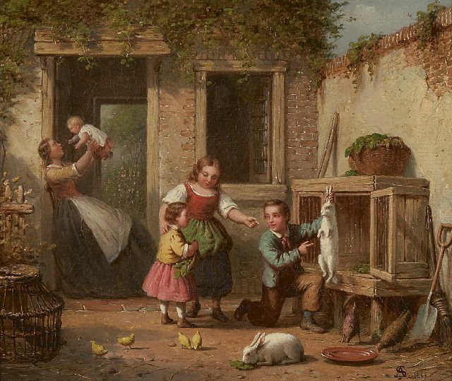 Andries Scheerboom | Playing with the rabbit, oil on canvas, 25.8 x 30.8 cm, signed l.r. with monogram and dated 1866