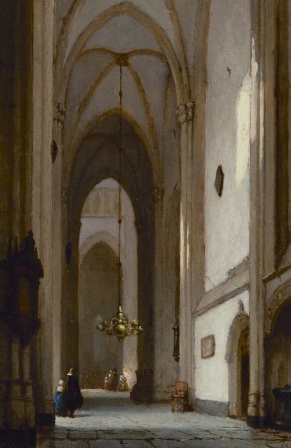 Jan Jacob Schenkel | In the Dom church in Utrecht, oil on panel, 22.2 x 15.2 cm, signed l.l.