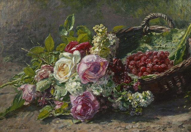 Anna Peters | A still life with roses and raspberries, oil on canvas, 42.8 x 60.1 cm, signed l.l. and painted ca. 1880