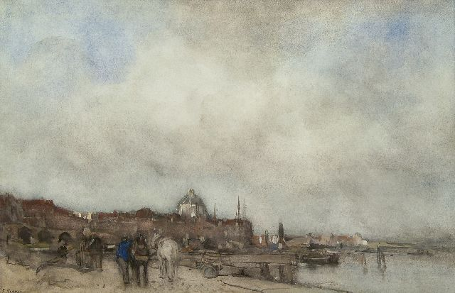 Jacob Maris | A view of a town with a domed church, watercolour on paper, 34.5 x 53.5 cm, signed l.l.