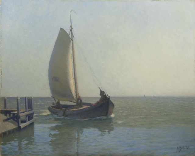 Anthonie Pieter Schotel | A fishing boat in front of the harbour of Volendam, oil on canvas, 80.4 x 100.3 cm, signed l.r.