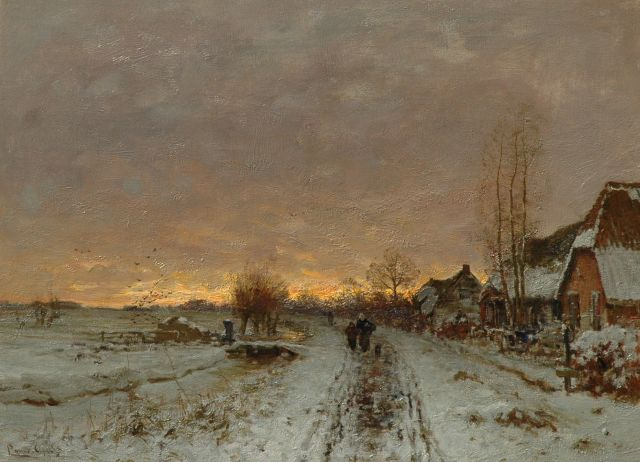 Louis Apol | Snowy village path at sunset, oil on canvas, 49.2 x 66.8 cm, signed l.l.