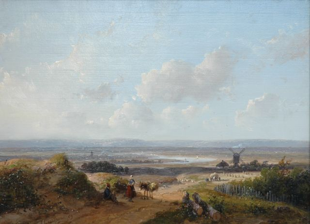 Andreas Schelfhout | A panoramic river landscape, oil on panel, 21.6 x 29.2 cm, signed l.l. and dated '59