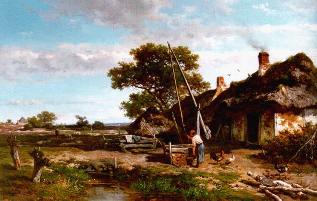 Roelofs W.  | A yard with a well, oil on canvas laid down on panel, 42.5 x 66.0 cm, signed l.l. and dated 1855