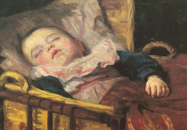 Gijswijt A.C.  | Sleeping baby, oil on canvas 28.5 x 39.5 cm, signed u.r. and dated '4