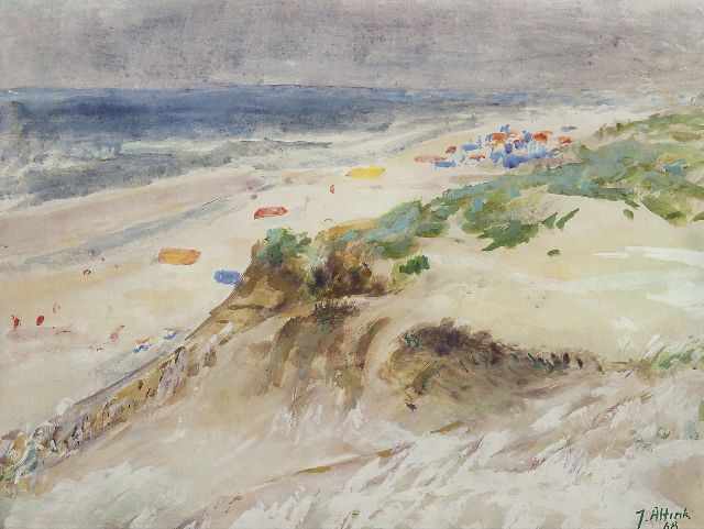 Jan Altink | The beach near Bergen aan Zee, watercolour and gouache on paper, 47.9 x 62.9 cm, signed l.r. and dated '68