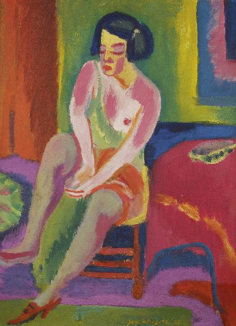 Wiegers J.  | Seated nude, wax paint on canvas, 70.4 x 55.4 cm, signed l.m. and dated '25