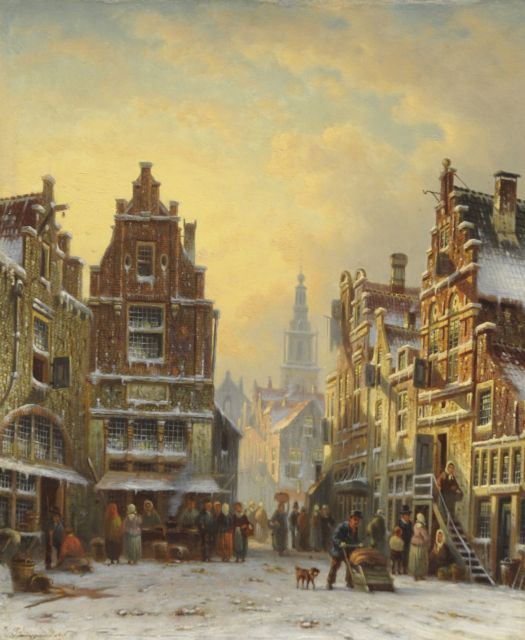 Johannes Franciscus Spohler | A snowy town view with the Amsterdam Zuiderkerk tower, oil on panel, 26.2 x 21.5 cm, signed l.l.