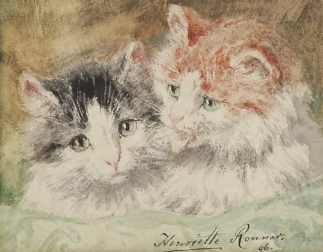 Henriette Ronner-Knip | Two kittens, watercolour on paper, 12.2 x 15.3 cm, signed l.r. and dated '96