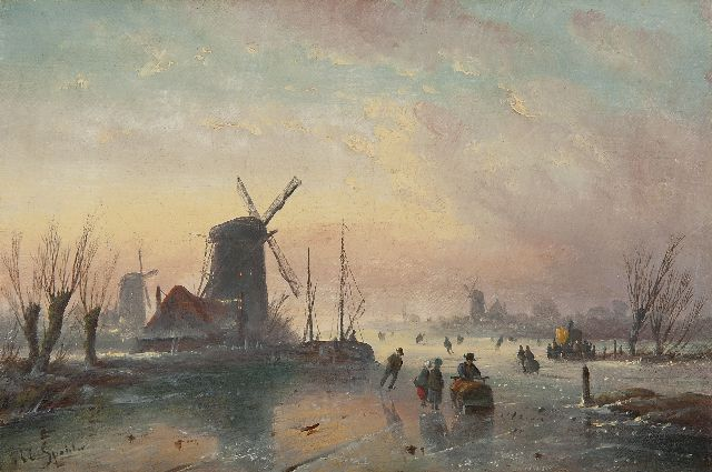 Jacob Jan Coenraad Spohler | Winterlandscape with skaters, oil on canvas, 17.5 x 26.4 cm, signed l.l.