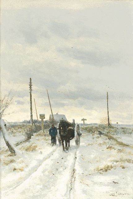 Louis Apol | Farmer with a horse-drawn cart, oil on canvas, 80.2 x 55.4 cm, signed l.r. and dated 1873
