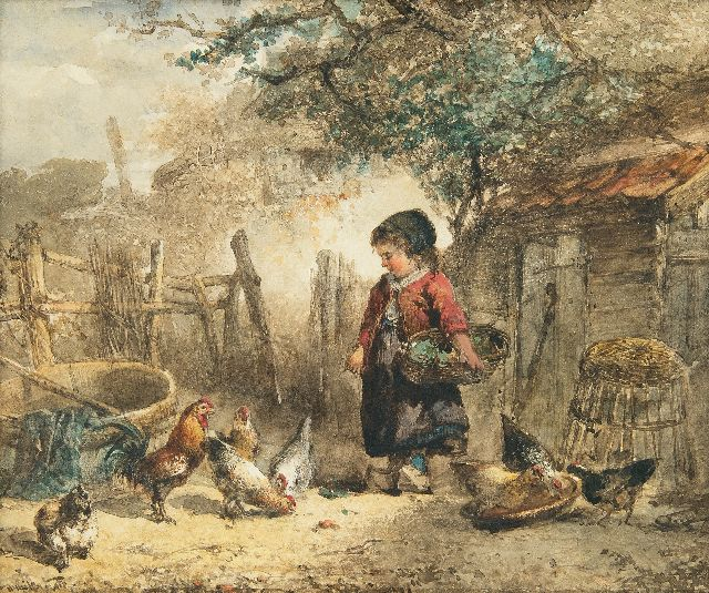 Mari ten Kate | Feeding the chickens, watercolour on paper, 21.1 x 25.4 cm, signed l.l.