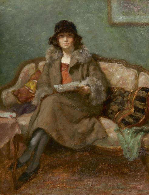 Henri Heijligers | A lady reading on a sofa, oil on canvas, 45.1 x 35.5 cm, signed l.r.