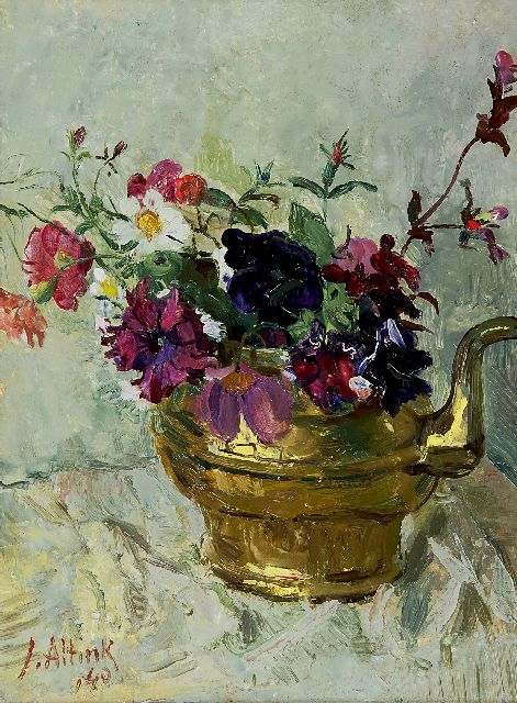 Jan Altink | Flowers in a copper kettle, oil on canvas, 40.1 x 30.3 cm, signed l.l. and dated '40