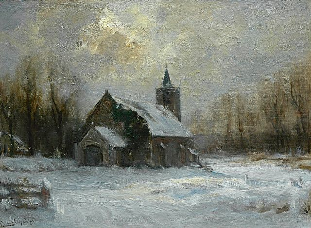 Louis Apol | A snow-covered church, oil on canvas, 30.2 x 40.8 cm, signed l.l.