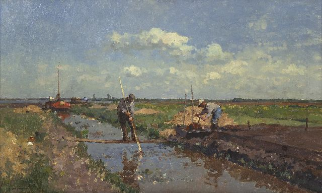 Cornelis Vreedenburgh | Peat cutters, oil on canvas, 47.0 x 76.3 cm, signed l.l.