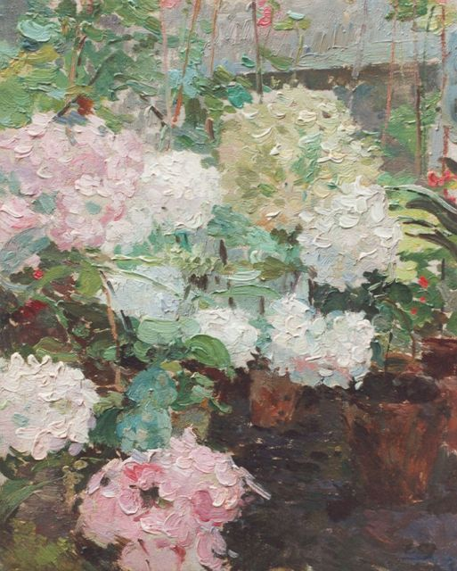 Ernest Jean Joseph Godfrinon | Hydrangeas, oil on canvas, 24.7 x 19.7 cm, signed on the reverse and dated 1918