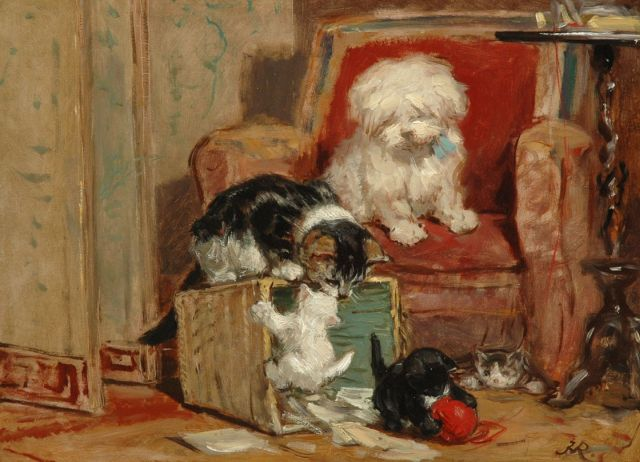 Henriette Ronner-Knip | Kittens at play, oil on panel, 27.2 x 36.7 cm, signed l.r. with monogram