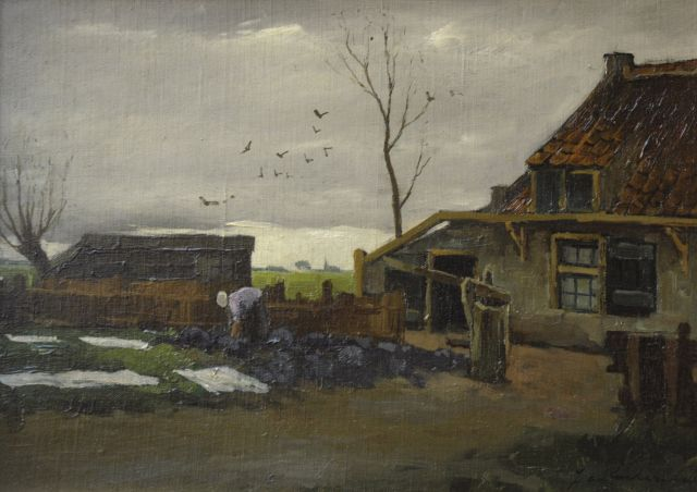 Johannes Cornelis Roelandse | Bleaching the laundry by a farm, oil on canvas laid down on board, 26.7 x 37.1 cm, signed l.r.