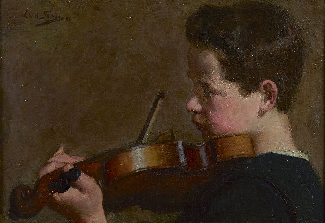 Lammert van der Tonge | The young violin player, oil on canvas, 22.3 x 31.4 cm, signed u.l. and dated '98