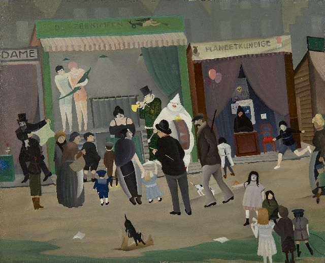 Ger Langeweg | A day at the fair, oil on canvas, 32.3 x 40.1 cm, executed probably in the 1930's