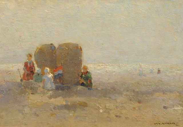 Aris Knikker | On the beach, oil on panel, 19.6 x 28.1 cm, signed l.r.