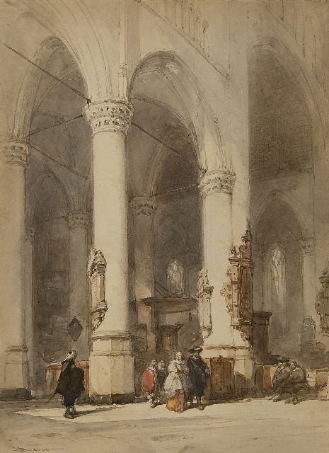 Johannes Bosboom | Interior of the Hooglandsche Kerk, Leiden, ink and watercolour on paper, 26.7 x 19.5 cm, signed l.l.