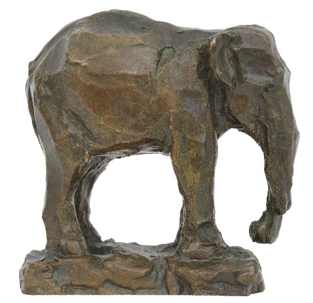 Zijl L.  | Elephant, bronze 11.0 x 11.0 cm, signed with initials on the side of the base and dated '18