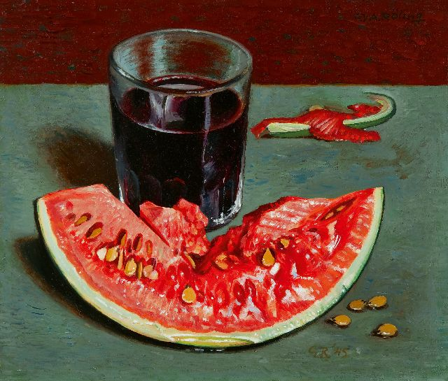 Gé Röling | A still life with watermelon, oil on board, 22.7 x 26.4 cm, signed l.r. with initials and dated '45