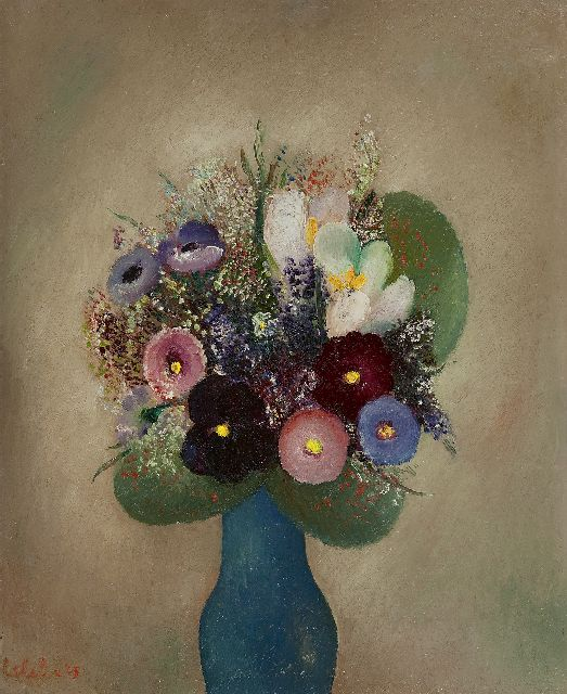 Slebe (Ferdinand Joseph Sleebe) F.  | Flowers in a blue vase, oil on board 50.0 x 40.0 cm, signed l.l. and dated '43