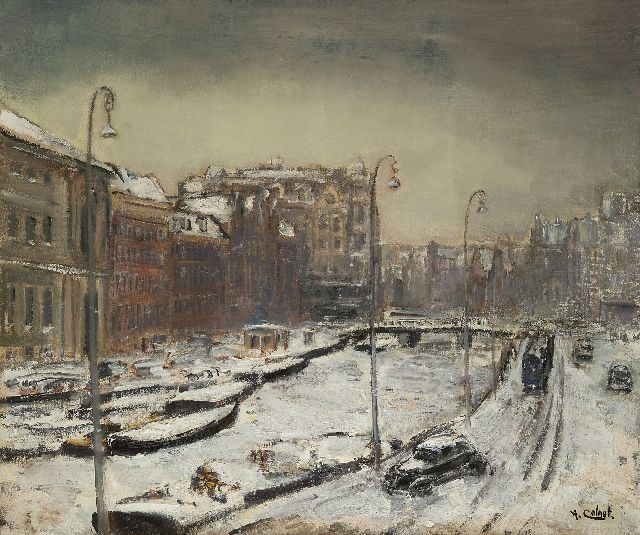 Arnout Colnot | The Rokin, Amsterdam, in winter, oil on canvas, 55.1 x 65.0 cm, signed l.r.