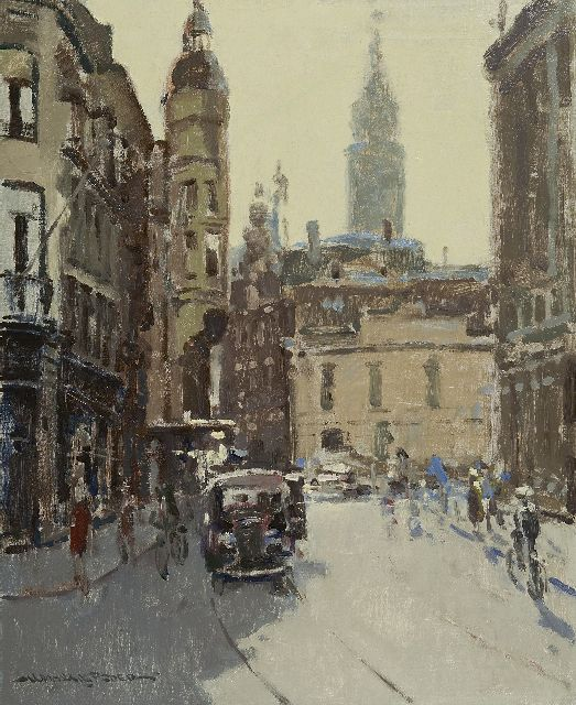 Hessel de Boer | The Gravenstraat, The Hague, with the tower of the old city house, oil on canvas, 60.0 x 50.0 cm, signed l.l.