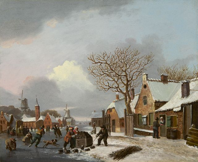 Stok J. van der | A winter landscape with skaters, oil on panel 32.1 x 38.9 cm