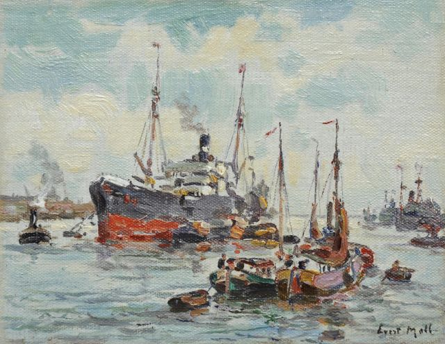 Evert Moll | Rotterdam harbour, oil on canvas laid down on panel, 11.2 x 14.3 cm, signed l.r.