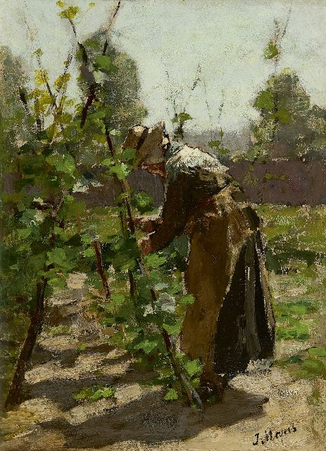 Jacob Maris | in the garden, oil on panel, 32.5 x 23.7 cm, signed l.r.