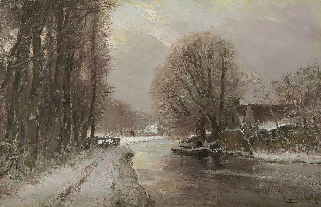 Louis Apol | River landscape in the winter, oil on panel, 27.7 x 42.1 cm, signed l.r.